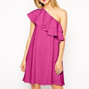 Swing Dress in Scuba with One Shoulder and Ruffle